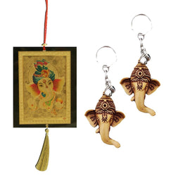 Divya Mantra Car Rear View Mirror Hanging Interior Decor Accessories Hindu God Ganesha / Ganpati Good Luck Charm Interior Wall / Door Hanging Showpiece & Gift Set of 2 Keychains for Bike /Car / Home - Divya Mantra