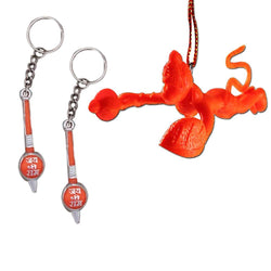 Divya Mantra Rear View Mirror Hanging Interior Decor Accessories Hindu God Orange Flying Hanuman Good Luck Charm Interior Wall / Door Hanging Showpiece & Set of 2 Gada Mace Keychains for Bike/Car/Home