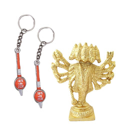 Divya Mantra Sri Hindu God Panchmukhi (Five Faced) Hanuman Idol Sculpture Statue Murti Puja/Pooja Room, Meditation, Prayer, Office, Temple, Home Decor & 2 Gada Mace Keychains -Bike/Car/ Home; Gift Set