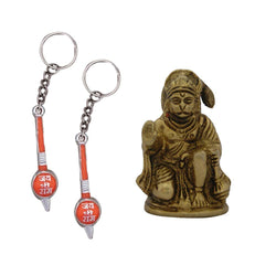 Divya Mantra Sri Hindu God Hindu God Hanuman/ Bajrang Bali Idol Sculpture Statue Murti Puja/Pooja Room, Meditation, Prayer, Office, Temple, Home Decor & 2 Gada Mace Keychains -Bike/Car/ Home; Gift Set