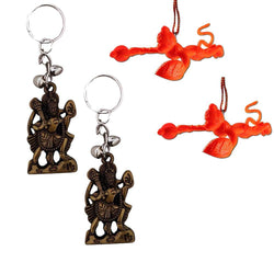 Divya Mantra Combo Of Two Orange Flying Hanuman Car Mirror Hangings Dã©Cor - Divya Mantra
