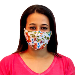 Face Mask, Washable Reusable Floral Print Face Masks For Health Protection n Skin Care Unisex Mouth Filter Facemask, Soft Dri-Fit Handmade in India, Nose to Chin Mud & Pollution Dust Cover - SET OF 3