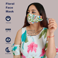 Face Mask, Washable Reusable Floral Print Face Masks For Health Protection n Skin Care Unisex Mouth Filter Facemask, Soft Dri-Fit Handmade in India, Nose to Chin Mud & Pollution Dust Cover - SET OF 5 - Divya Mantra