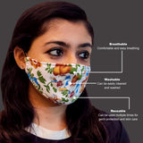Face Mask, Washable Reusable Floral Print Face Masks For Health Protection n Skin Care Unisex Mouth Filter Facemask, Soft Dri-Fit Handmade in India, Nose to Chin Mud & Pollution Dust Cover - SET OF 7