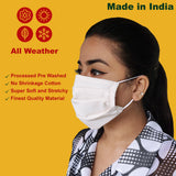 Khadi Face Mask, Washable Reusable 100% Pure Cotton Pleated Flat Face Masks Health Protection n Skin Care Unisex Mouth Filter Eco Friendly Indian Facemask, Mud & Pollution Dust Cover  - SET OF 3