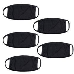 Cotton Stretchable Face Mask, Washable Reusable Black Face Masks For Health Protection Skin Care Unisex Mouth Filter Handmade Facemask, Made in India, Nose to Chin Mud, Pollution Dust Cover - SET OF 5