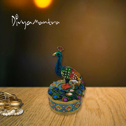 Divya Mantra Decorative Metallic Bejewelled Peacock / Mor With Secret Magnetic Compartment Box Indian Souvenir Gift, Office, Business, Home Decor Item/Product-Money, Good Luck, Prosperity-Multicolour - Divya Mantra