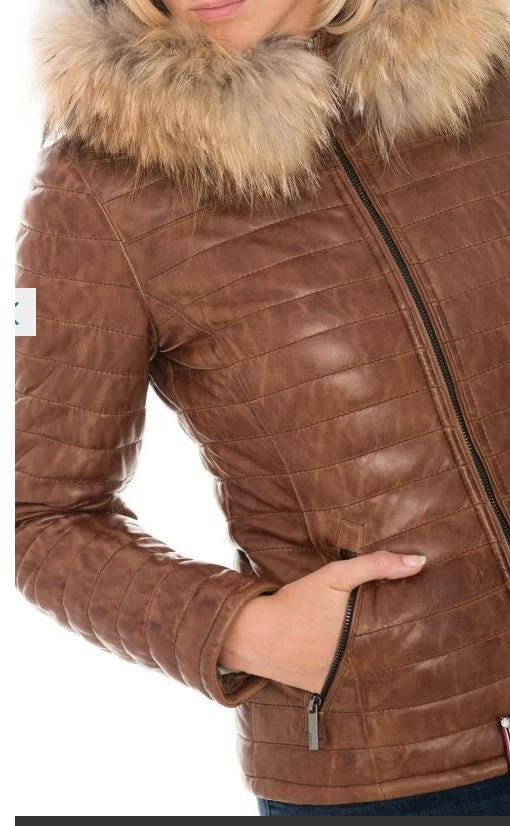 Veste cuir et col fourure HAPPY By OAKWOOD