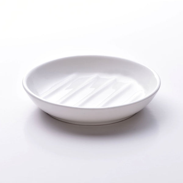 Fine bone china soap dish, circular design in white. Made in England. www.ellielane.co.uk