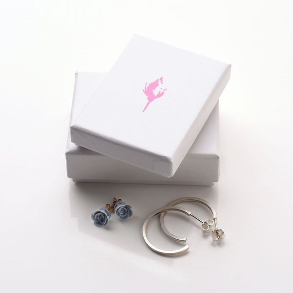 Ellie Lane gift box with rosebud design, hoop earrings, 925 sterling silver in a matt finish and blue rose handmade porcelain earrings. www.ellielane.co.uk