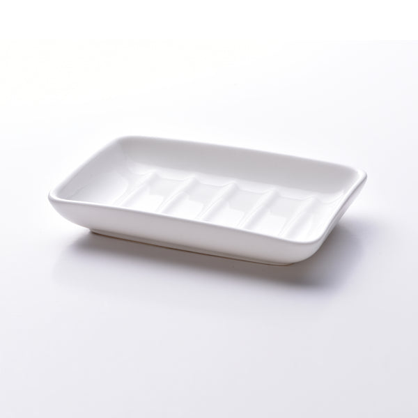 Fine bone china soap dish, rectangular design in white. Made in England. www.ellielane.co.uk