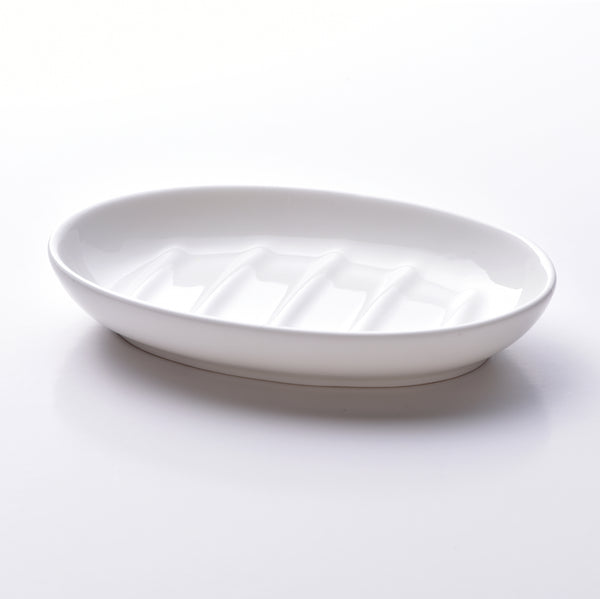 Fine bone china soap dish, oval design in white. Made in England. www.ellielane.co.uk