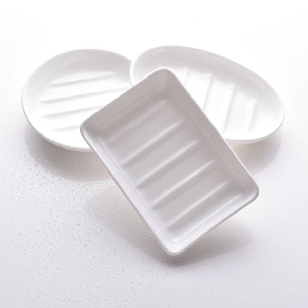 Fine bone china soap dishes, 3 designs in white. Rectangular, round and oval. Made in England. www.ellielane.co.uk