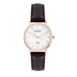Luke Henry Unisex Rose Gold Ashbrooke 38MM Brown Strap