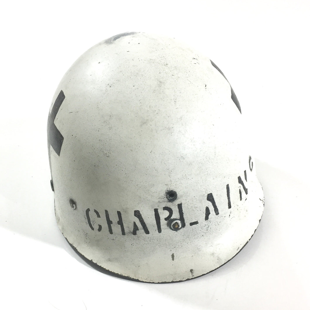 WWII M1 Helmet Liner, CHAPLAIN marked