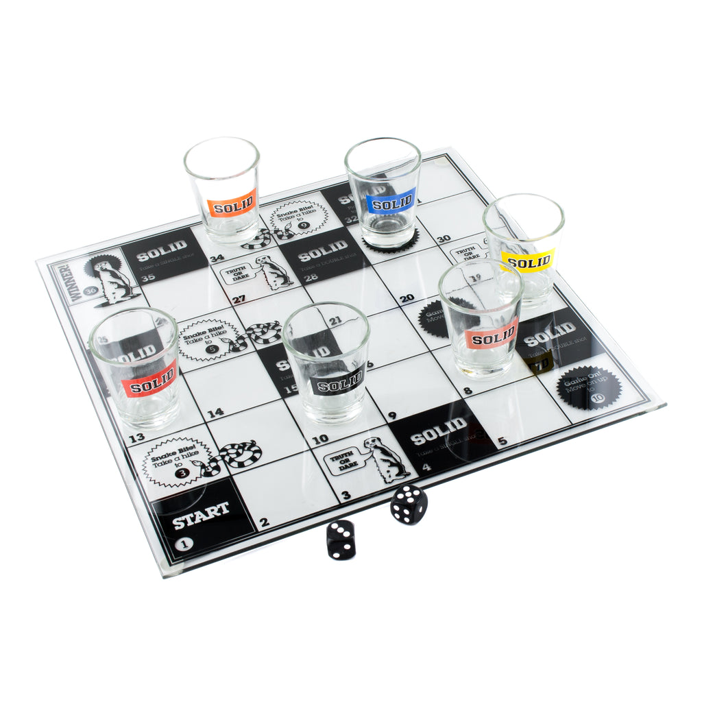 Snakes And Ladders Drinking Game Contains 6 Glass Shot Glasses And Glass Playing Board