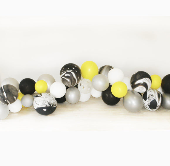Balloon Garland Kit - for a Batman party theme with Black and Yellow