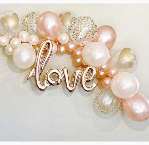 Balloon Garland Kit - Rose Gold Love - with Balloons in Rose Gold, White, Pearl, Crystal Clear with Metallic Confetti print, White with Metallic Heart print