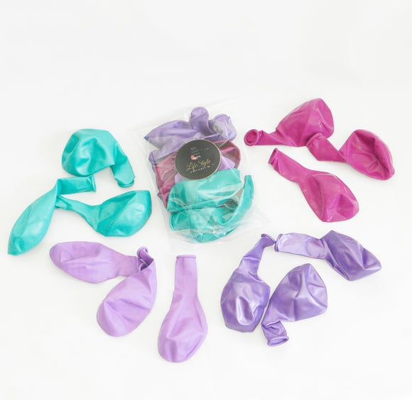 Balloon Pack - Mermaid Party Medley Colours: Pearlescent Mint, Pearlescent Purple, Pastel Lavender & Violet.