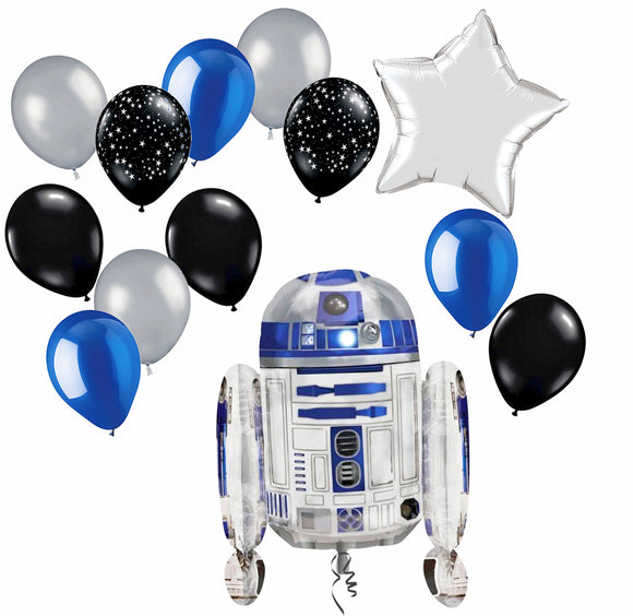 Balloon Pack - Star Wars party theme (inflated with R2D2 Balloon and Silver foil star balloon) with Midnight Black with White Stars, Midnight Black, Pearlescent Deep Blue and Shimmering Silver balloons