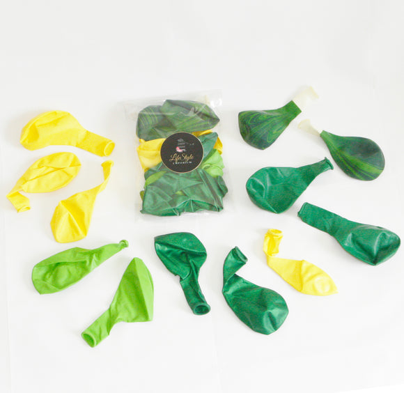 Balloon Pack - Tropical Party or Summer Pool party theme, Colours: Super Agate Green (Green Marble balloon), Bright Yellow, Lime, Deep Green & Pearlescent Green.