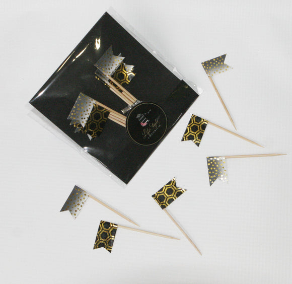 Toppers / Food Picks - Flags Black & Gold - LifeStyle Emporium