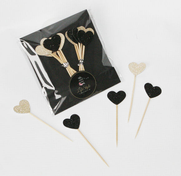 Cupcake Toppers - Hearts Black & Gold Glam - LifeStyle Emporium