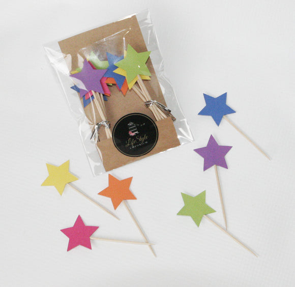 Cupcake Toppers - Stars in Rainbow - LifeStyle Emporium