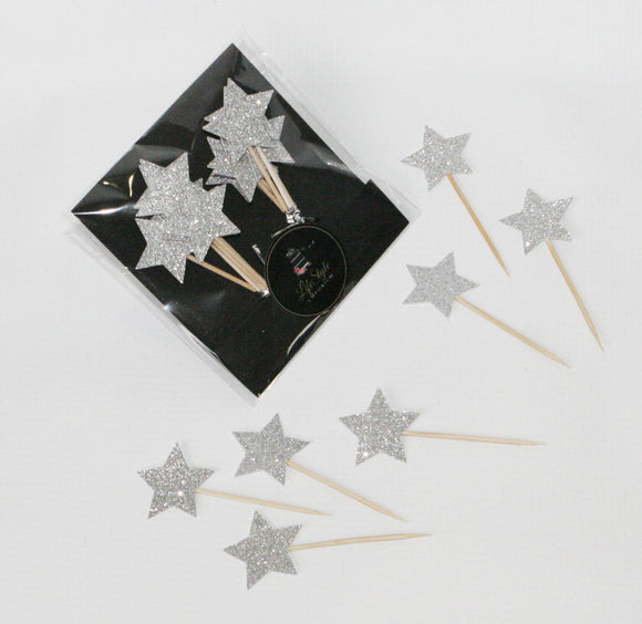 Cupcake Toppers - Stars in Silver - LifeStyle Emporium