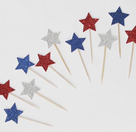 Cupcake Toppers - Stars in Red, Blue & Silver - LifeStyle Emporium
