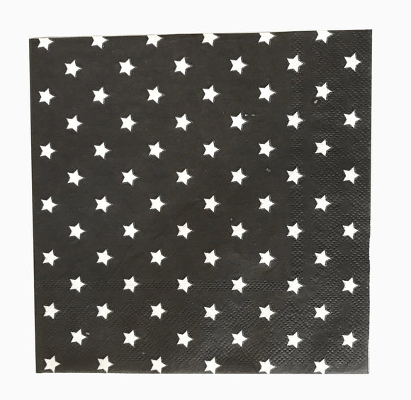 Napkin Lunch - Black with White Stars