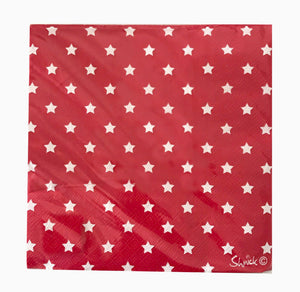 Napkin Lunch - Red with White Stars