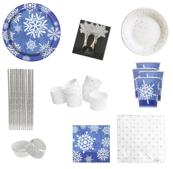 Frozen Snowflake Dark Blue Party Package
