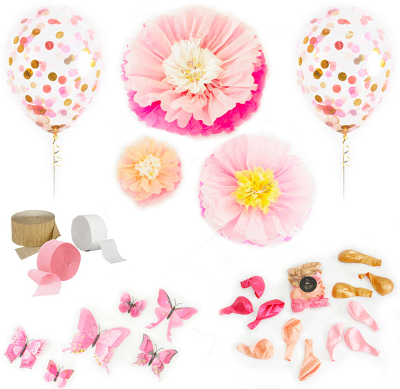 Decor Pack - Pink Florals and Butterflies - LifeStyle Emporium