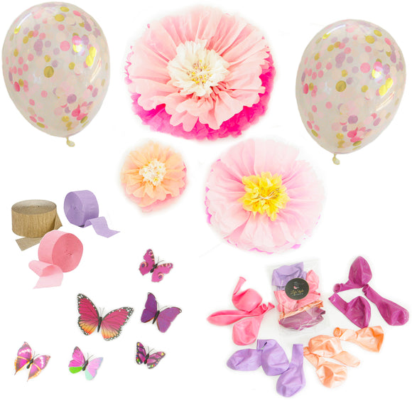 Decor Pack - Pink Florals and Purple Butterflies - LifeStyle Emporium
