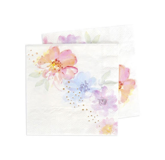 Rose Gold and Watercolour Floral Napkins