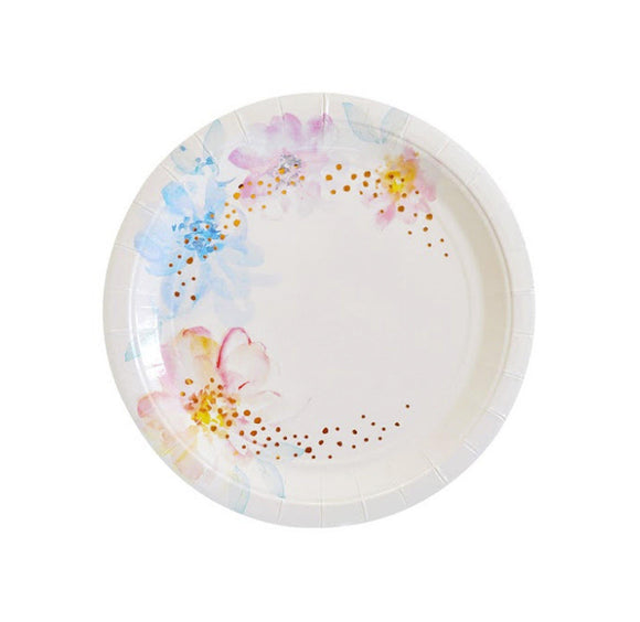 Rose Gold and Watercolour Floral Plates