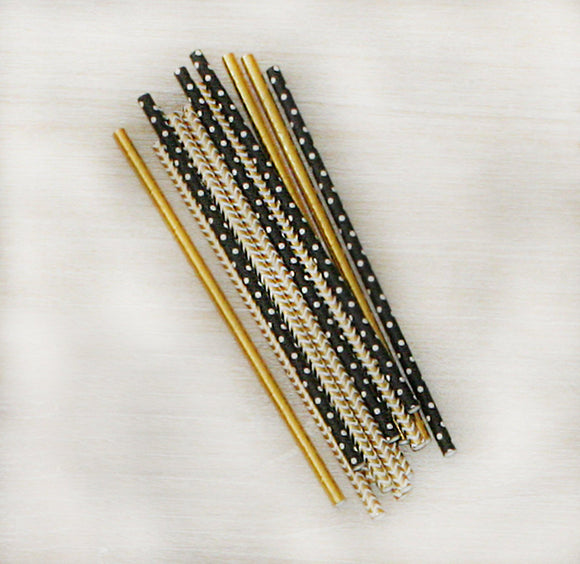 Straws - Gold and Black Glam