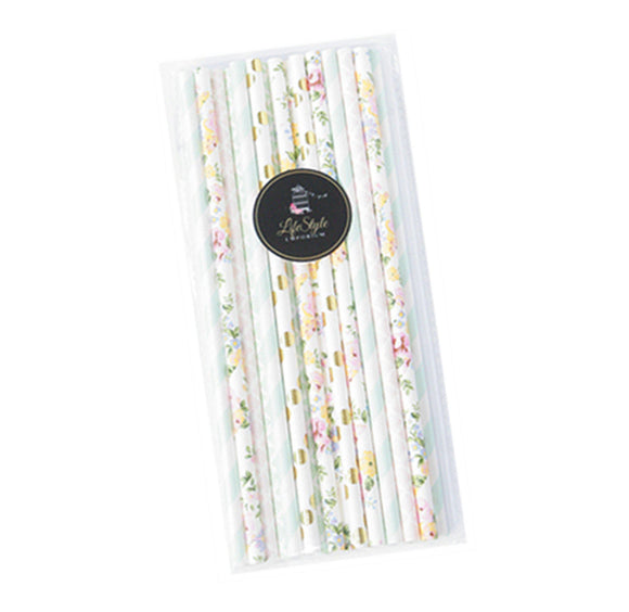 Straws - Mint Floral Designer Mix