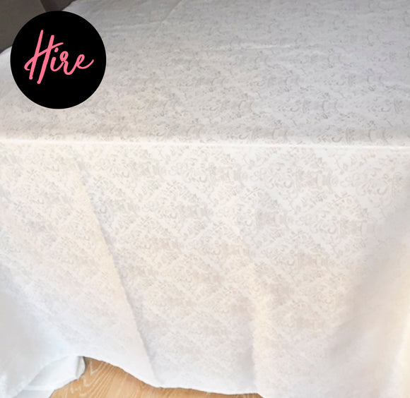 Hire - White Jacquard Tablecloth - LifeStyle Emporium