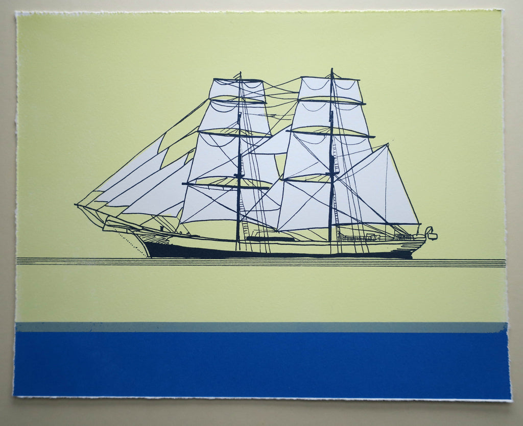 Schooner on Blue