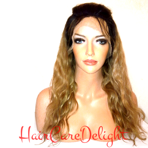Ombre Body Wave Full Lace Wig 1b Roots 27 - Haircaredelight.co.uk