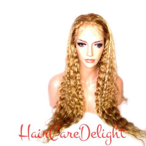 Bronze Blonde Highlight Deep Wave Full Lace Wig 27 613 - Haircaredelight.co.uk