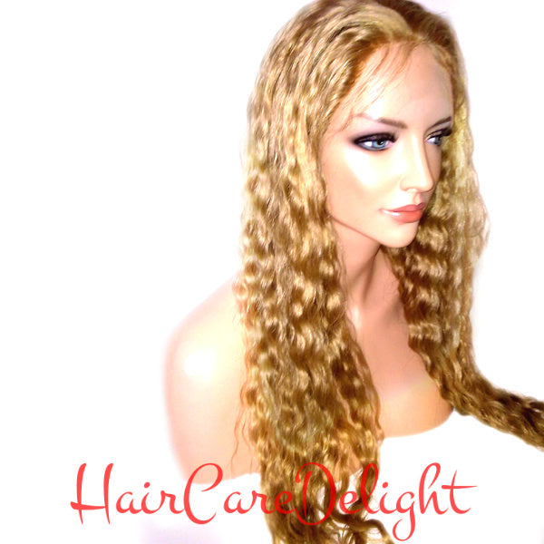 Highlighted Blonde Deep Wave Full Lace Wig #27/#613