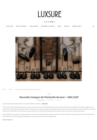 Luxsure Magazine, Line Loup, PR, article, slippers, luxury, created in France, handmade in Italy