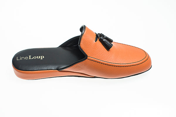 tassels, Line Loup, men, Ludovic, slipper, leather, orange