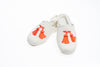Line Loup, slippers, children, velvet, Clara, ivory, customization, embroidery tassels in orange