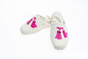 Line Loup, slippers, children, velvet, Clara, ivory, customization, embroidery tassels in pink
