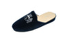 women, slipper, mule, line loup, velvet, navy blue, logo embroidery, women, Stephanie