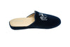 slipper, navy blue, mule, line loup, velvet, women, embroidery logo, slipper, Stephanie